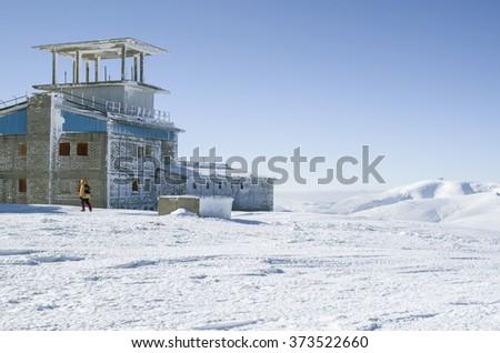 Abandoned military base on mount Golyam Kademlya, Stara planina, Bulgaria  - stock photo