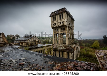 abandoned mine tower in hungary - stock photo
