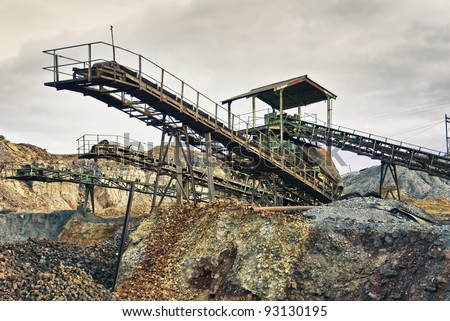 Abandoned mine workshops former mining installations in Spain - stock photo