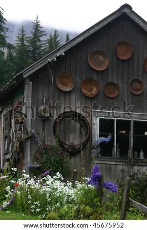 abandoned mining shack - stock photo