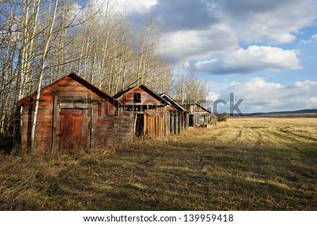 Abandoned old granaries on the edge of a hayfield - stock photo