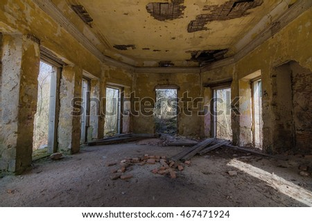 abandoned old hunting lodge Inside view