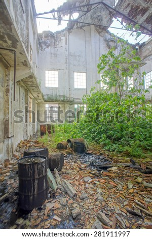 Abandoned Old Ruined Industrial Plant in Veneto Italy