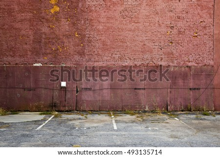 abandoned parking lot brick building