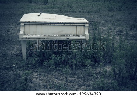 Abandoned piano in the wild - stock photo