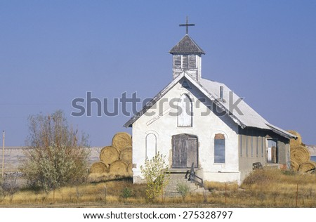 Abandoned prairie church near Badlands South Dakota