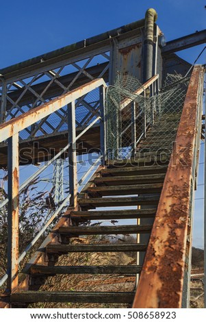 Abandoned railroad footbridge, urban exploration, hdr