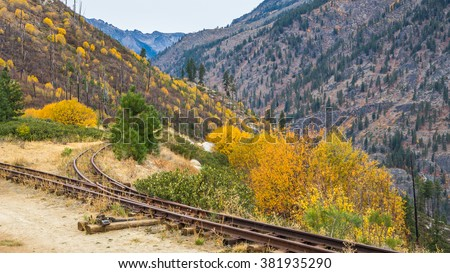Abandoned railroad in the mountains in autumn,  Mountain Home Road, LEAVENWORTH AREA, Washington state - stock photo