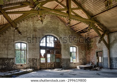 Abandoned railway station with carved and painted decorations - stock photo