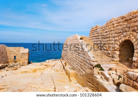 Abandoned ramparts of a fort - stock photo