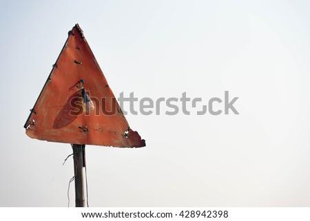 Abandoned road traffic sign - stock photo