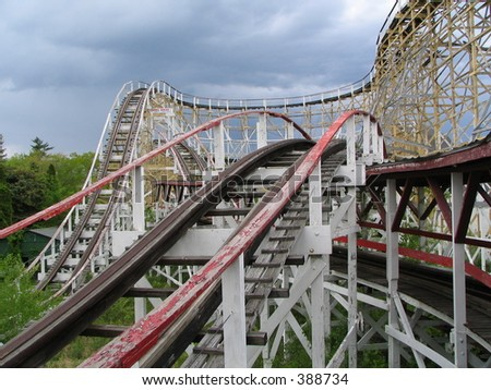 abandoned roller coaster - stock photo
