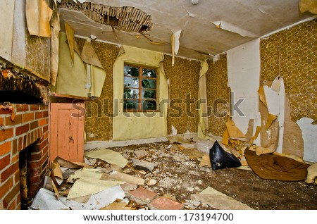 abandoned room - stock photo