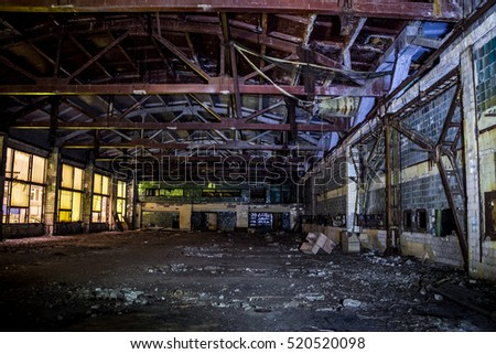 Abandoned ruins of Voronezh factory of radio components and capacitors, interior of former destroyed machinery