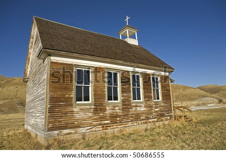 abandoned rural church in the badlands of Alberta