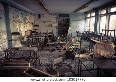 Abandoned school in Chernobyl 2012 March 14 - stock photo