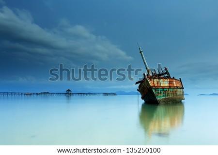 Abandoned ship at Koh Mak, Trat - stock photo