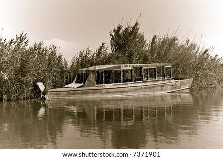 Abandoned ship in the Albufera, Valencia. - stock photo
