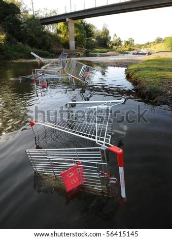 Abandoned shopping trolleys - stock photo