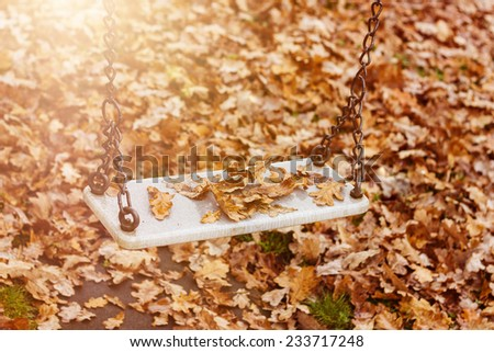 Abandoned swing with leaves in the autumn season - stock photo