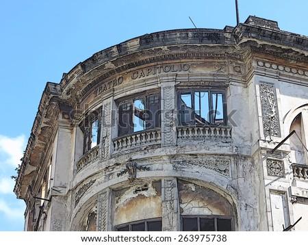 Abandoned Teatro Capitolio in Havana - stock photo