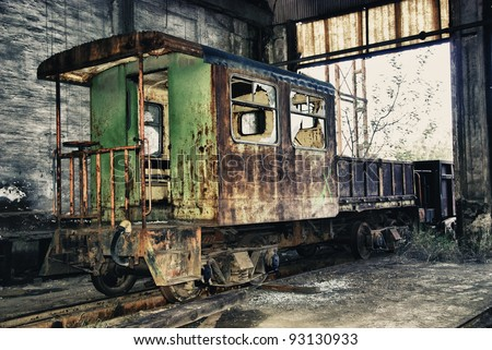 Abandoned train of Spain - stock photo