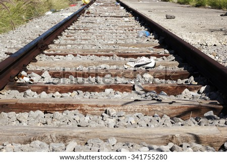 abandoned train rail - stock photo
