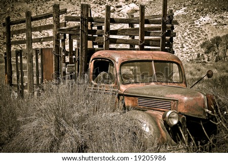 Abandoned truck photographed in the Eastern Sierras of California