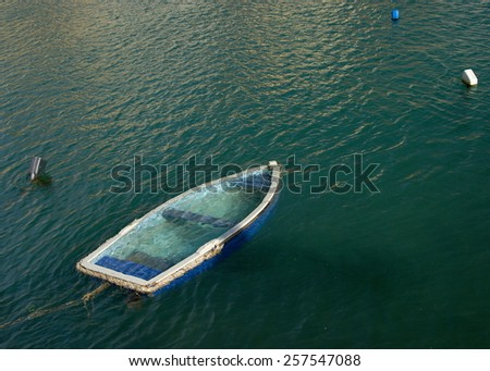 Abandoned underwater boat  in the Mediterranean Sea. Lost and abandoned concept. - stock photo
