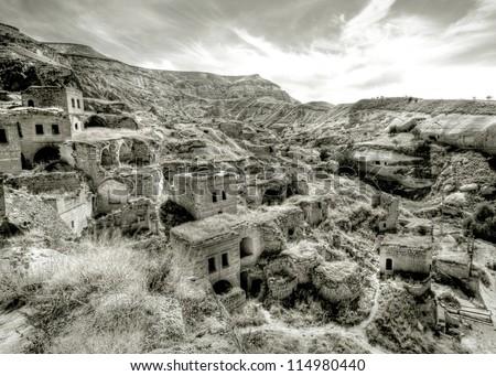 abandoned village in turkey - stock photo