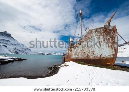 Abandoned Whaling Ship on Shore, Grytviken, South Georgia Island - stock photo