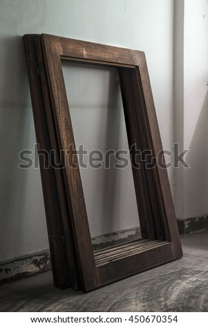abandoned window with light - stock photo