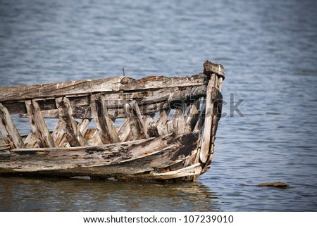 Abandoned wooden boat