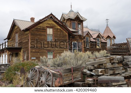 abandoned wooden building in nevada city montana - stock photo