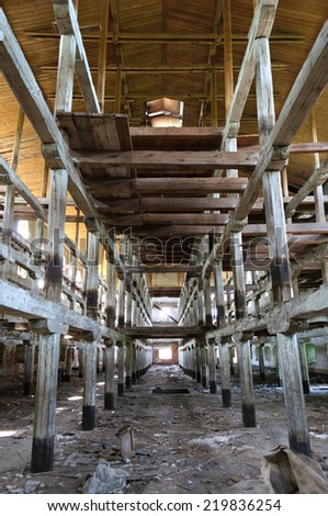 abandoned wooden building panorama
