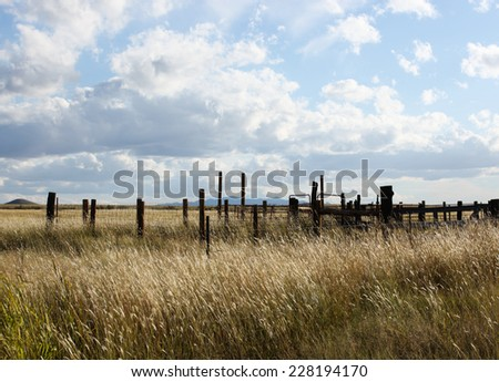 Abandoned wooden livestock corrals in semi-desert grassland on cloudy Autumn day/Old Wooden Cattle Corrals in Grassy Prairie Landscape on Cloudy Autumn Afternoon/Cattle corrals on grasslands - stock photo