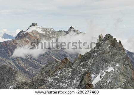 Abanico and Humboldt peaks at Sierra Nevada National Park in venezuelan Andes. Taken from Bolivar Peak, at almost 5000 meters above sea level (about 16.000 ft) - stock photo
