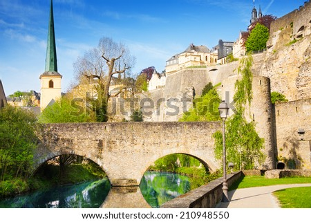 Abbey de Neumunster, Alzette river in Luxembourg - stock photo