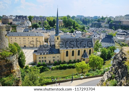 Abbey de Neumunster in Luxembourg City in summer