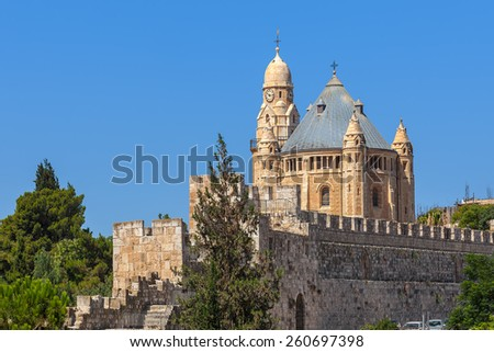 Abbey of Dormition and ancient walls in Old City of Jerusalem, Israel. - stock photo