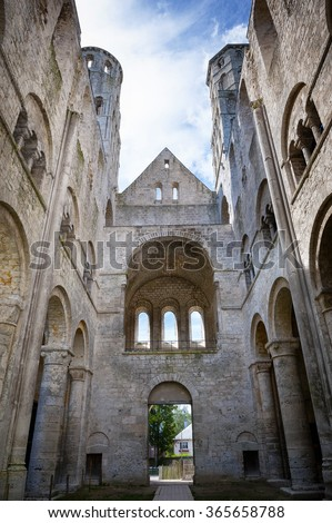 Abbey of Jumieges, Ruins of Abbey from 1067, Normandie, France
