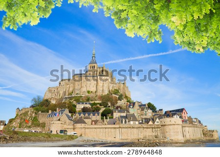 Abbey of Mont Saint Michel, at sunny summer day  Normandy, France - stock photo