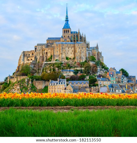 Abbey of Mont Saint Michel,  Normandy, France - stock photo
