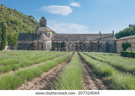 Abbey of Senanque with lavender fields - stock photo