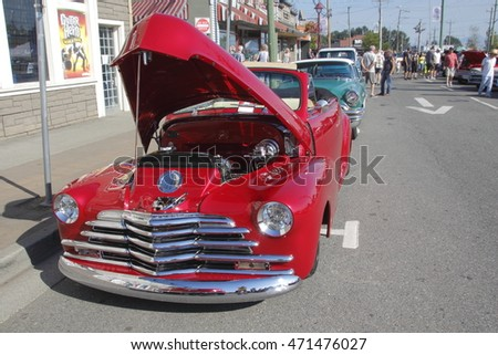 ABBOTSFORD - AUGUST 20, 2016: A vintage restored 1947 Chevrolet Cabriola is part of the annual downtown vintage car show in Abbotsford, BC, Canada on August 20, 2016.