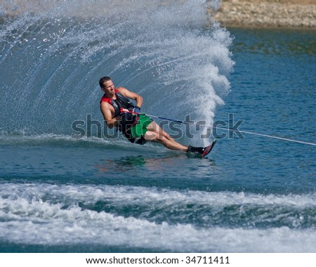 ABBOTSFORD, BC - AUGUST 3: Ryan Hammer from the Surrey Fire Dept competes in the men's slalom novice waterskiing at the World Police and Fire games Aug 3, 2009 in Abbotsford, BC.