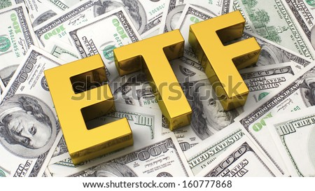 Abbreviation ETF on the background of one hundred dollar bills