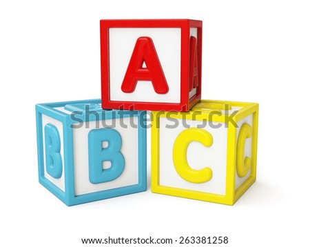 ABC alphabet building blocks with letters isolated on white - stock photo