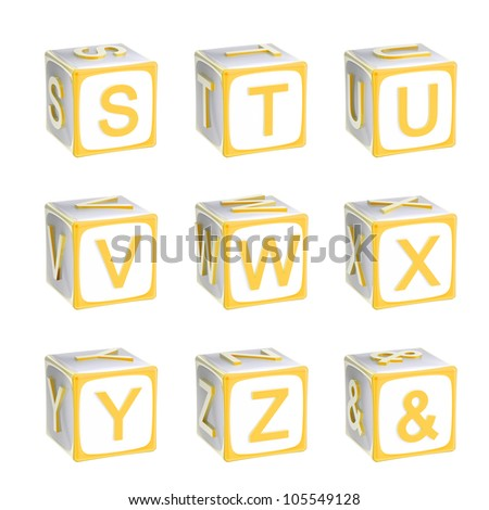 ABC: alphabet made of children playing cubes orange yellow bright and glossy isolated on white, letters s, t, u, v, w, x, y, z - stock photo