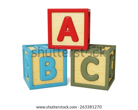 ABC alphabet wooden building blocks with letters isolated on white - stock photo